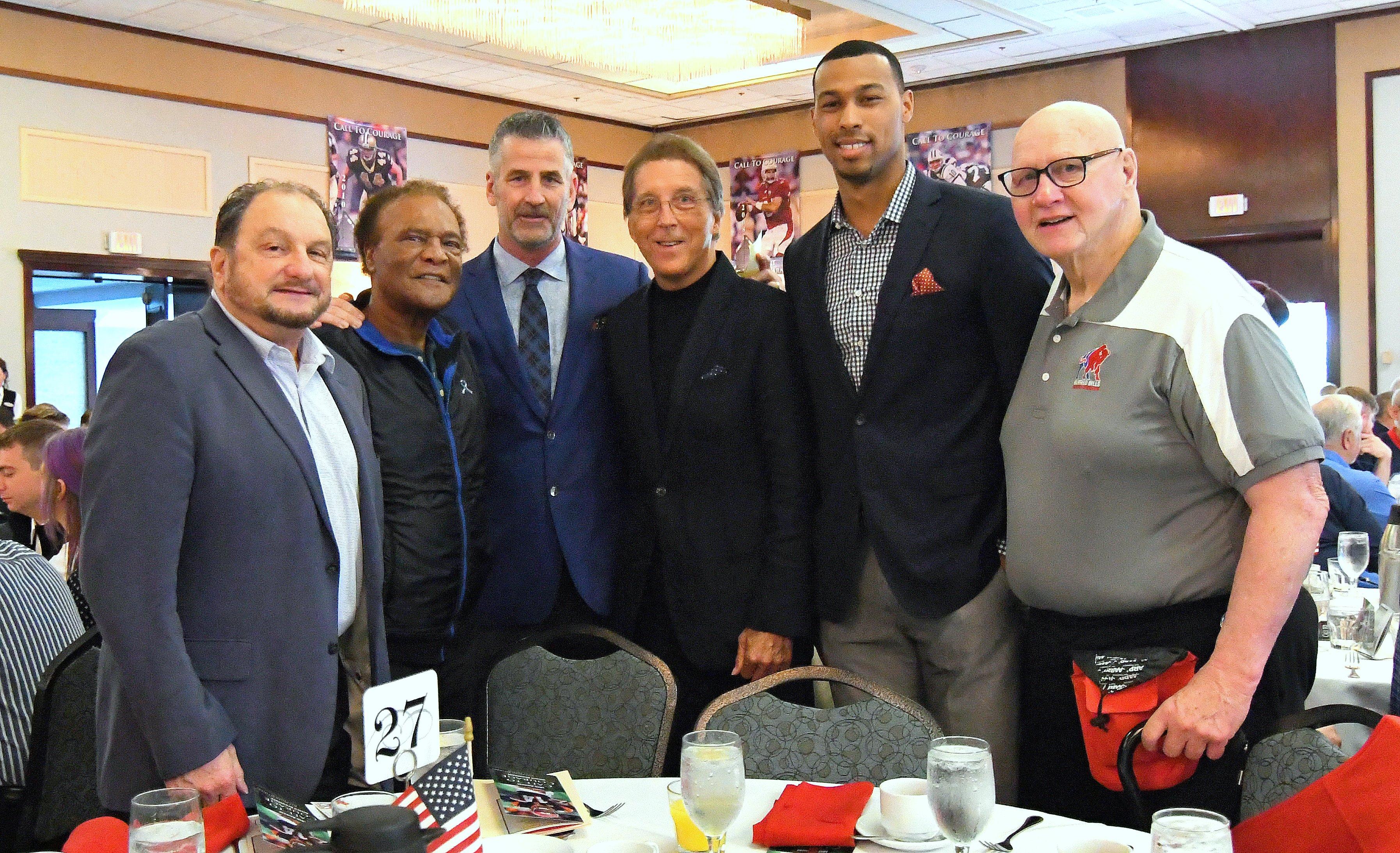 Bills Alumni attend the Call to Courage Awards Breakfast (l to r) Lou Piccone, Booker Edgerson, Frank Reich, Ed Rutkowski, Jeremy Kelley & Bob Dugan